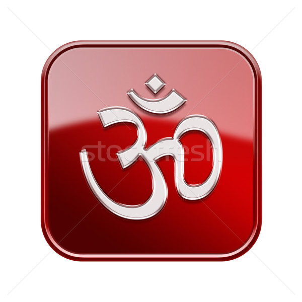 Om Symbol icon glossy red, isolated on white background Stock photo © zeffss