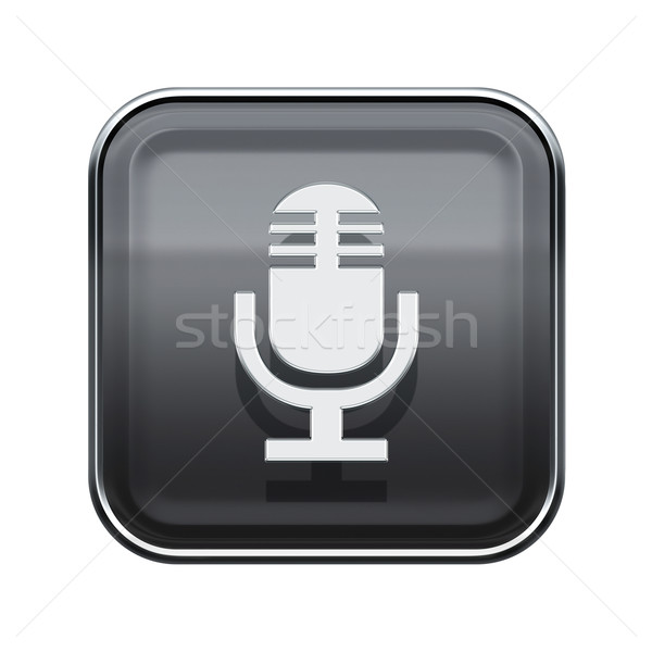 Microphone icon glossy grey, isolated on white background Stock photo © zeffss