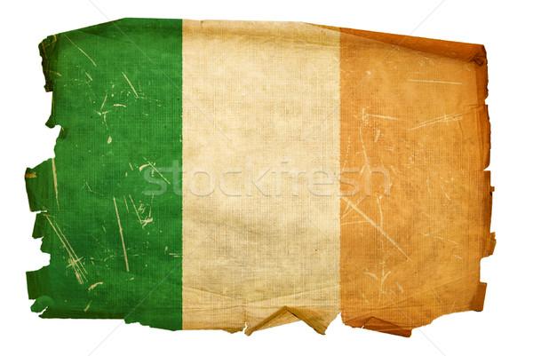 Stock fotó: Írország · zászló · öreg · izolált · fehér · terv