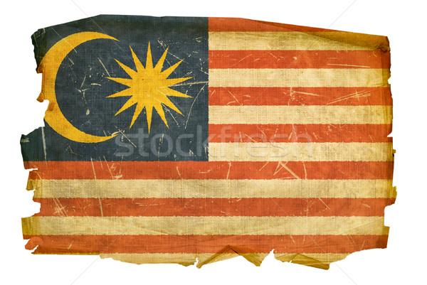 Malásia bandeira velho isolado branco pintura Foto stock © zeffss