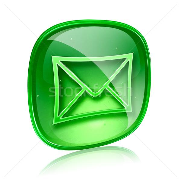 Envelope ícone verde vidro isolado branco Foto stock © zeffss