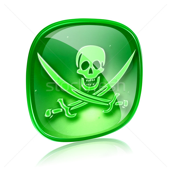 Pirate icon green glass, isolated on white background. Stock photo © zeffss