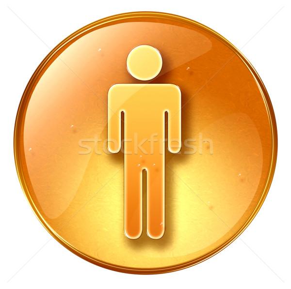 Сток-фото: мужчин · икона · желтый · изолированный · белый · человека