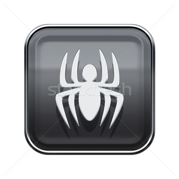 Virus icon glossy grey, isolated on white background Stock photo © zeffss
