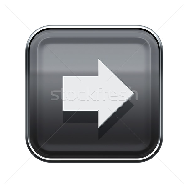 Arrow right icon glossy grey, isolated on white background Stock photo © zeffss