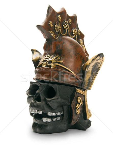 Skull and ancient  helmet, isolated on white background Stock photo © zeffss