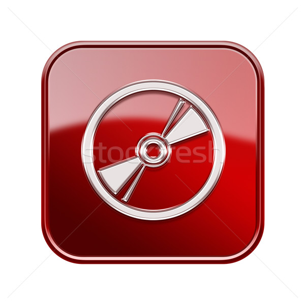 Compact Disc icon glossy red, isolated on white background Stock photo © zeffss
