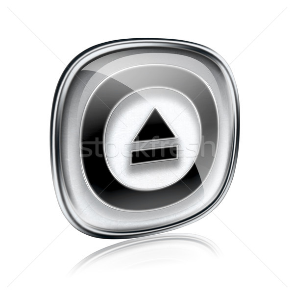Eject icon grey glass, isolated on white background. Stock photo © zeffss