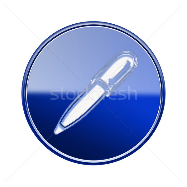 Pen icon glossy blue, isolated on white background Stock photo © zeffss