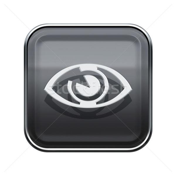 eye icon glossy grey, isolated on white background. Stock photo © zeffss