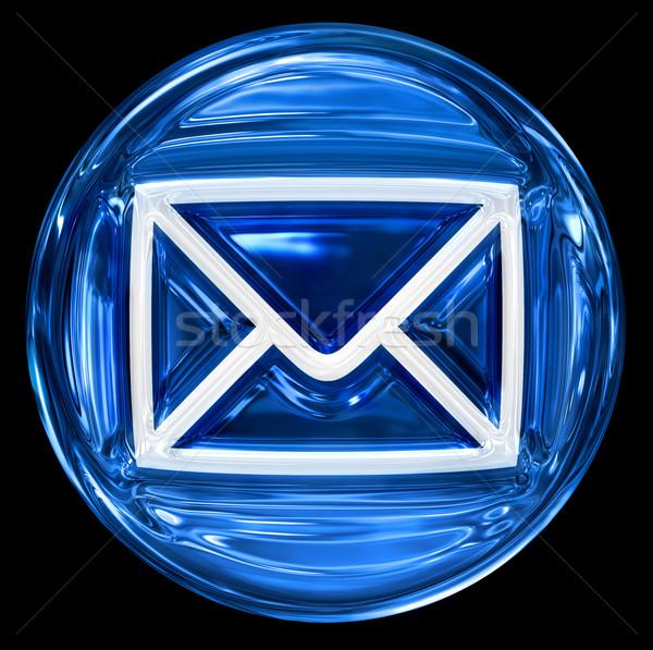конверт синий изолированный черный веб написать Сток-фото © zeffss