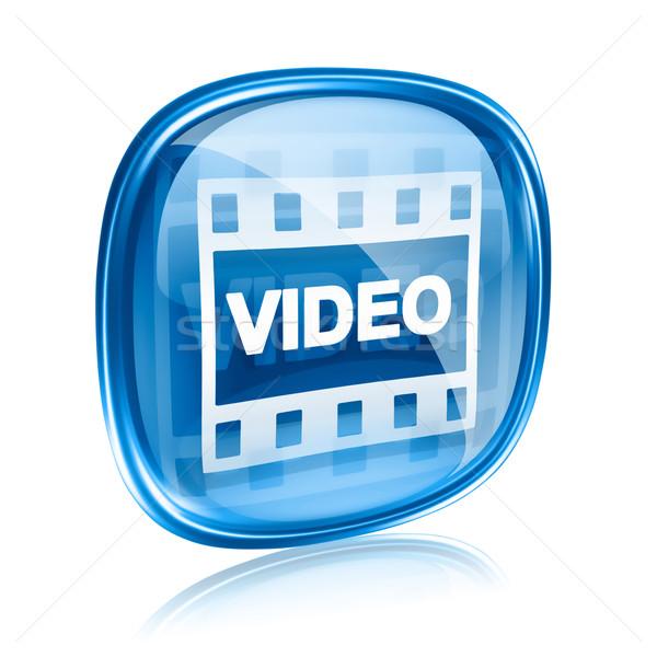 Stock fotó: Film · ikon · kék · üveg · izolált · fehér