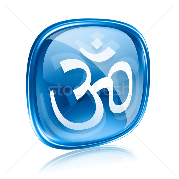 Om Symbol icon blue glass, isolated on white background. Stock photo © zeffss