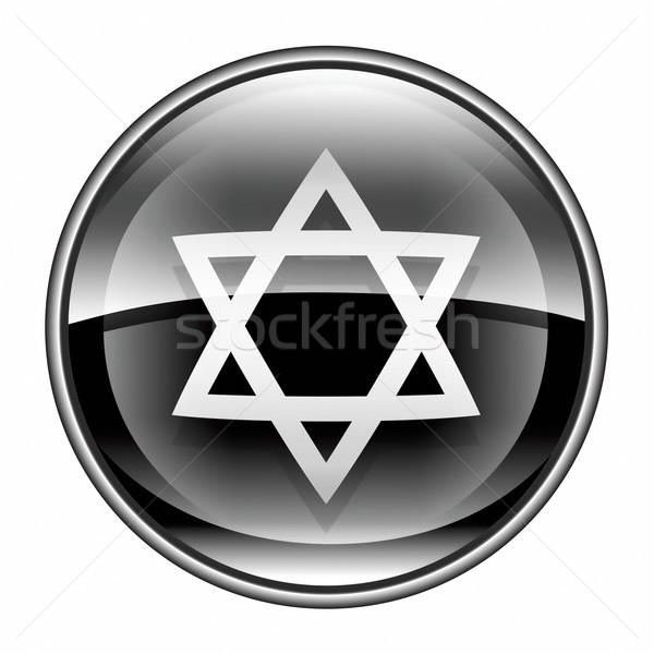 David star icon black, isolated on white background. Stock photo © zeffss