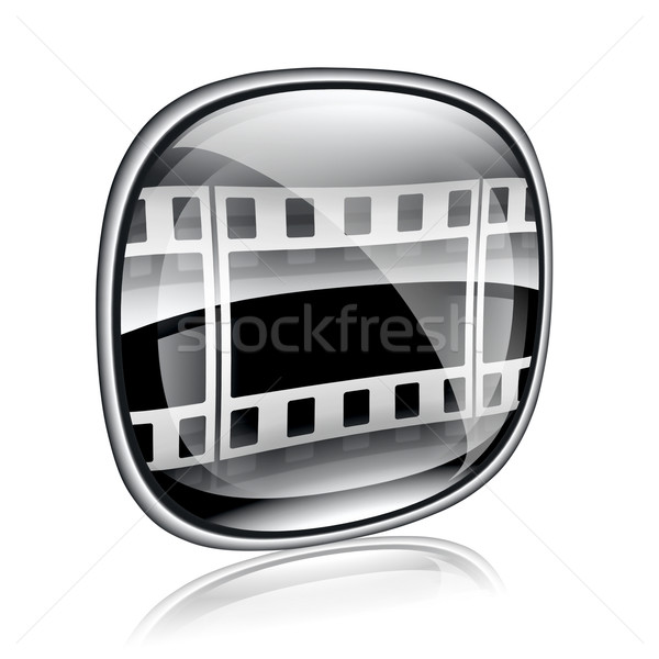 Film icon black glass, isolated on white background. Stock photo © zeffss