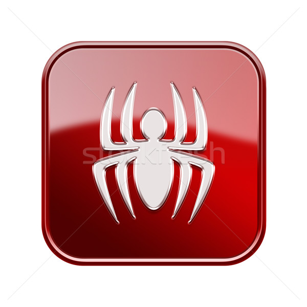Virus icon glossy red, isolated on white background Stock photo © zeffss