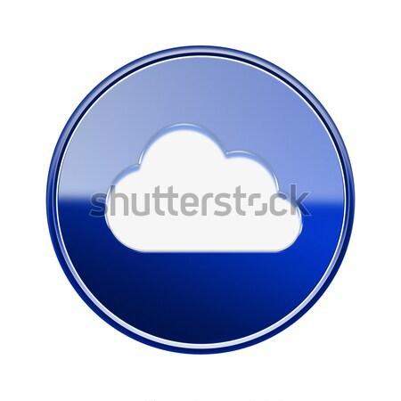 Chmura icon niebieski odizolowany biały komputera Zdjęcia stock © zeffss