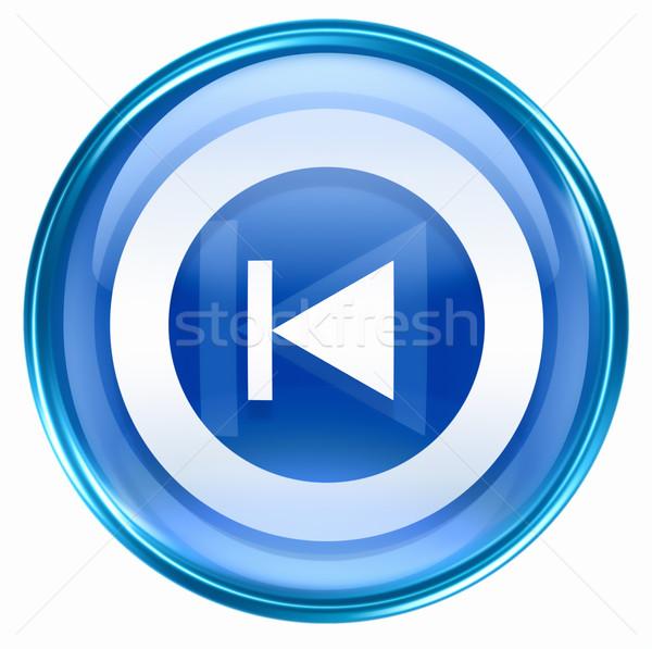 Rewind Back icon blue, isolated on white background.  Stock photo © zeffss