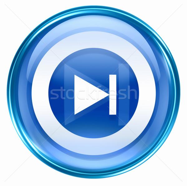 Stock photo: Rewind Forward icon blue, isolated on white background.