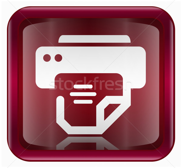 printer icon dark red, isolated on white background Stock photo © zeffss