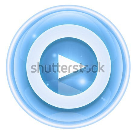 Play icon ice, isolated on white background. Stock photo © zeffss