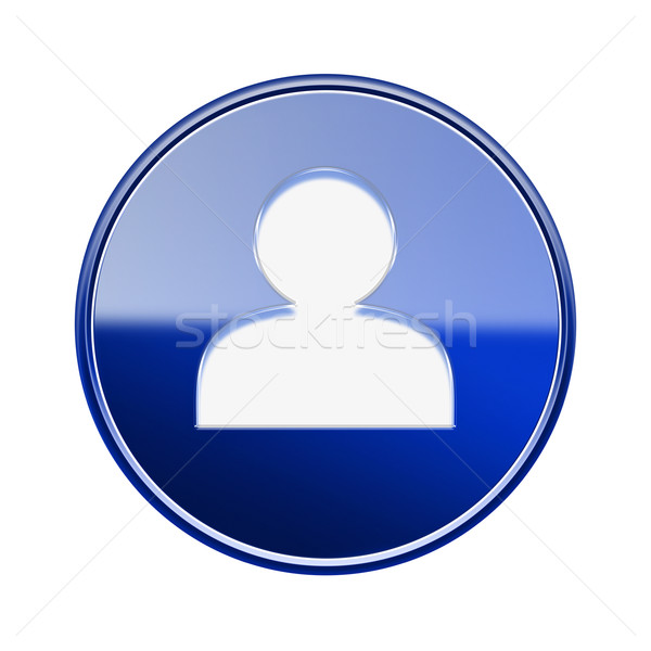 User icon glossy blue, isolated on white background Stock photo © zeffss