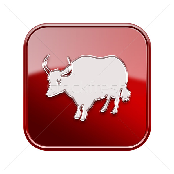 Stock photo:  Ox Zodiac icon red, isolated on white background.