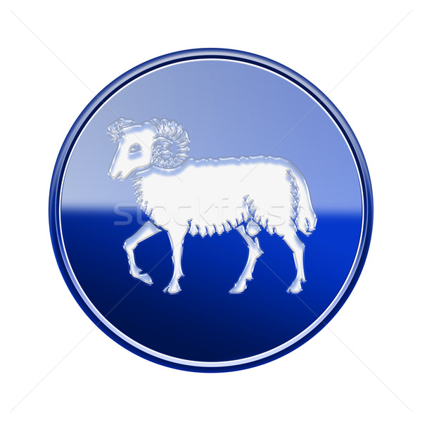 Aries zodiac icon blue, isolated on white background Stock photo © zeffss