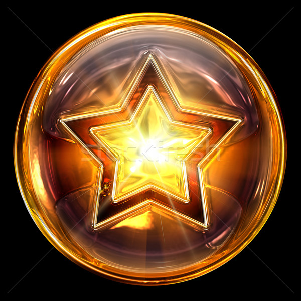 Stock photo: star icon fire, isolated on white background