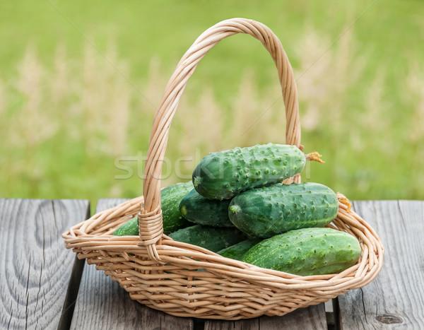 Uborkák kosár természet étel nyár zöld Stock fotó © zeffss