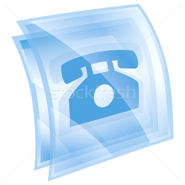 Telefone ícone azul isolado branco internet Foto stock © zeffss