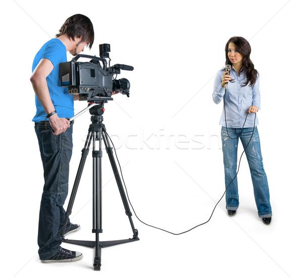 Stockfoto: Tv · verslaggever · presenteren · nieuws · studio · geïsoleerd