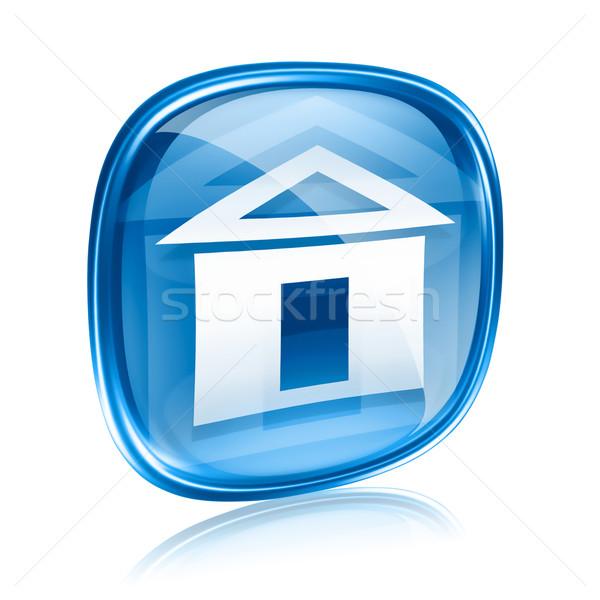 ストックフォト: ホーム · アイコン · 青 · ガラス · 孤立した · 白