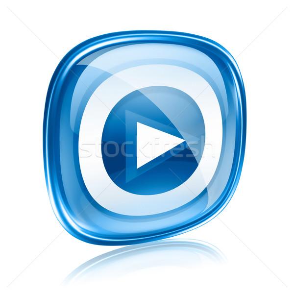 Spelen icon knop Blauw glas geïsoleerd Stockfoto © zeffss