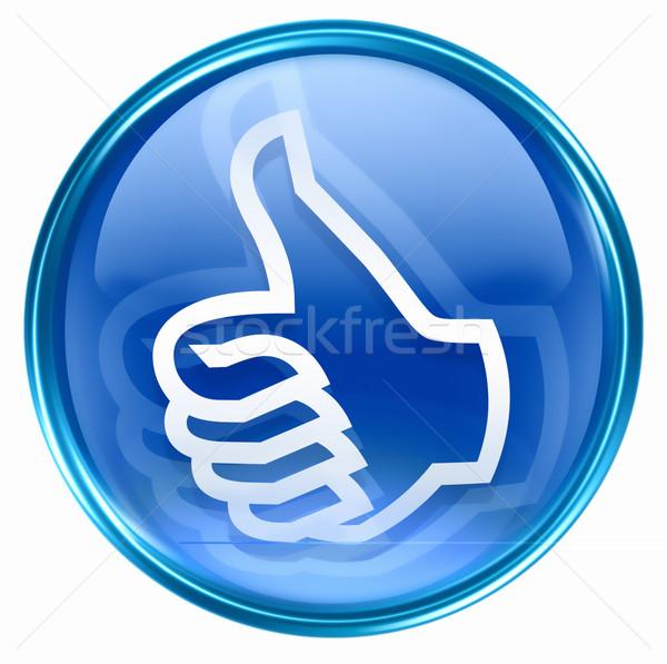 Kciuk w górę ikona niebieski odizolowany biały Zdjęcia stock © zeffss