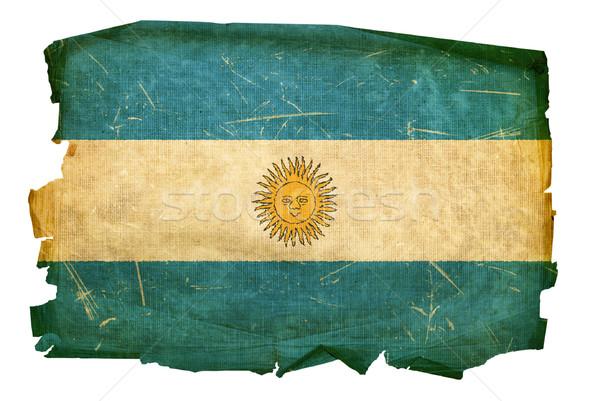 Argentína zászló öreg izolált fehér papír Stock fotó © zeffss