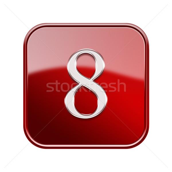 Numero otto rosso lucido isolato bianco Foto d'archivio © zeffss