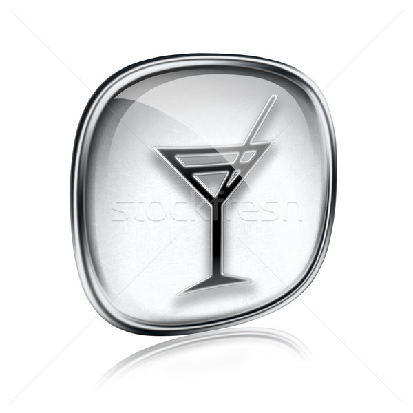 wine-glass icon grey glass, isolated on white background. Stock photo © zeffss