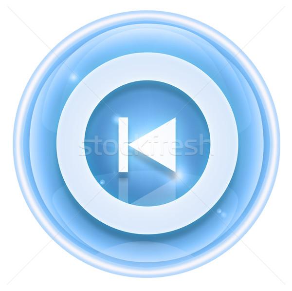 Stock photo: Rewind Back icon ice, isolated on white background.