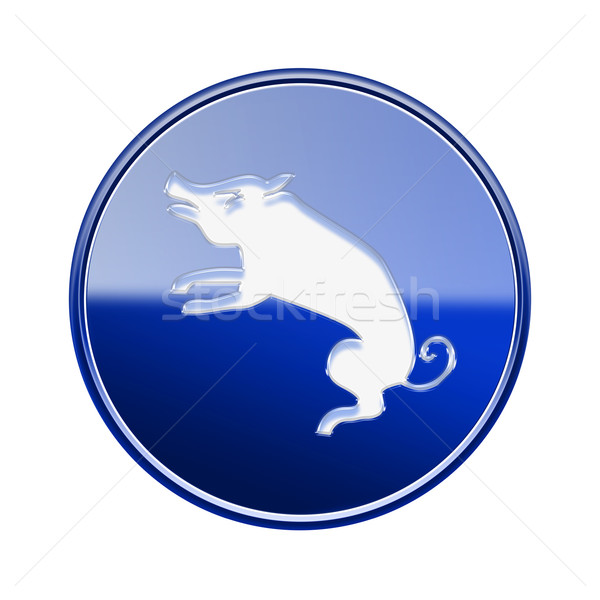 Rat Zodiac icon blue, isolated on white background. Stock photo © zeffss