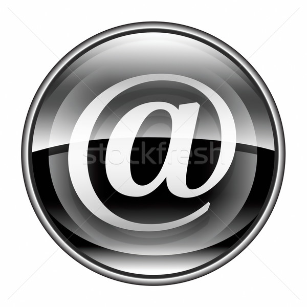 E-mail símbolo preto isolado branco computador Foto stock © zeffss