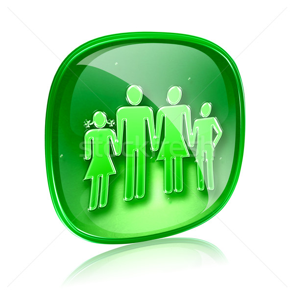 family icon green glass, isolated on white background. Stock photo © zeffss