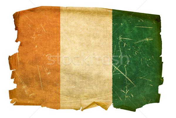 Elefántcsontpart zászló öreg izolált fehér festmény Stock fotó © zeffss