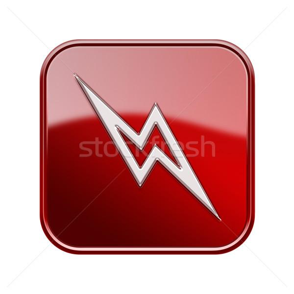 Bliksem icon glanzend Rood geïsoleerd witte Stockfoto © zeffss