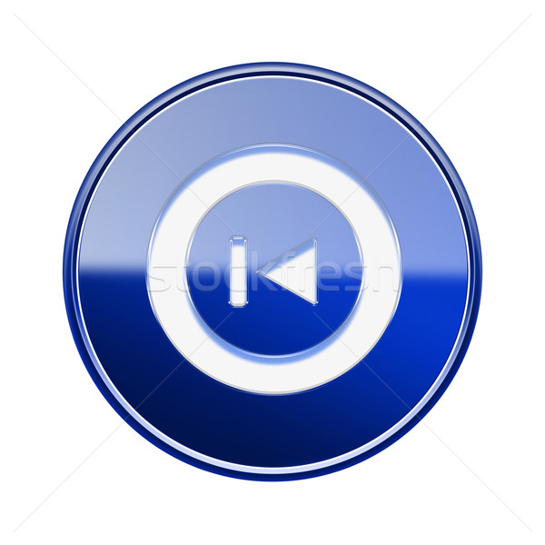 Rewind Back icon glossy blue, isolated on white Stock photo © zeffss