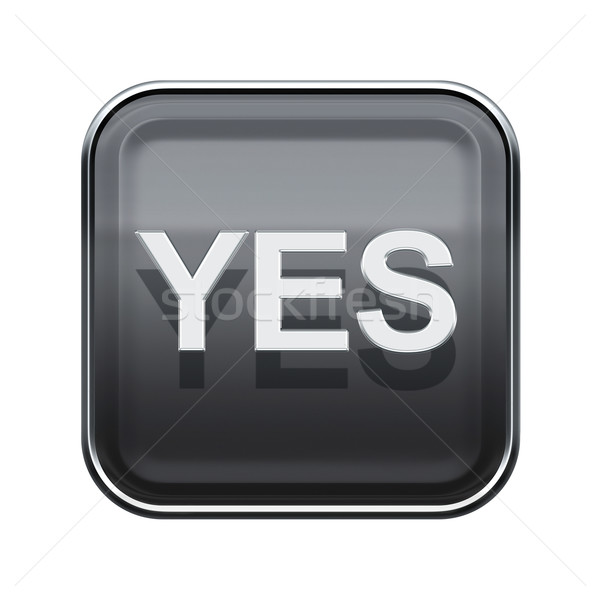 Yes icon glossy grey, isolated on white background Stock photo © zeffss