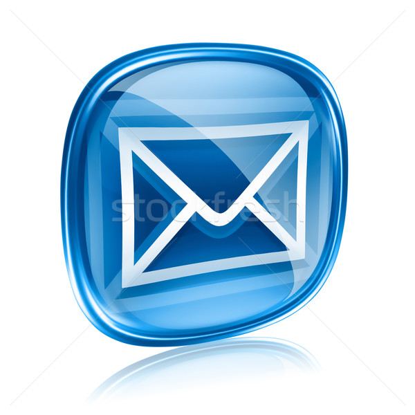 envelope icon blue glass, isolated on white background Stock photo © zeffss