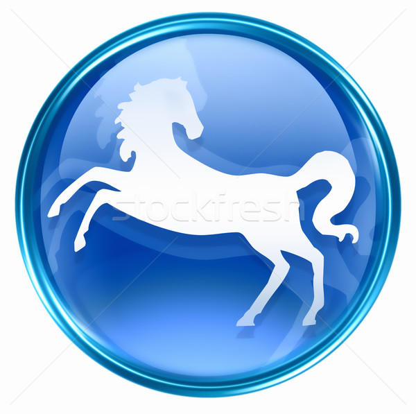 Horse Zodiac icon blue, isolated on white background. Stock photo © zeffss