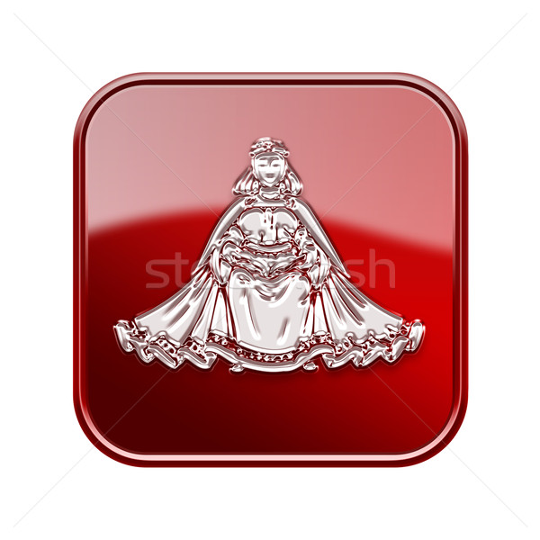Virgo zodiac icon red, isolated on white background Stock photo © zeffss