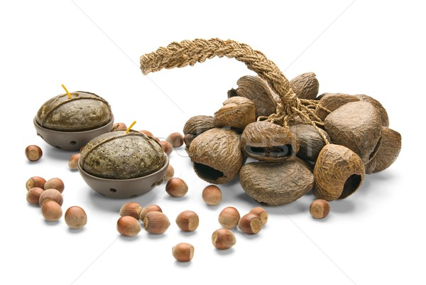 Still-life, Ethnic Musical Instrument, nuts and Candles, isolate Stock photo © zeffss
